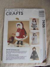 "7436 Sewing Pattern New  18"" Doll McCalls Winter Wonderland Cape Dress Nightgown"