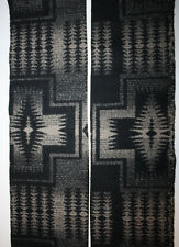 "PENDLETON Black Tan Taupe Gray Native American Aztec Wool Fabric Remnant 5"" x 62"