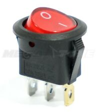 Spst 3 Pin Onoff Round Rocker Switch With Red Neon Lamp 10a125vac Usa Seller