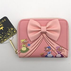 Loungefly Disney Wallet Cinderella Pink Dress Sewing Mice Small Zip Pink Bow