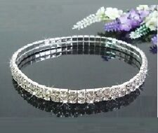 Silver Tone Clear Diamonte Diamante 2 Row Stretchy Anklet or LARGE Bracelet