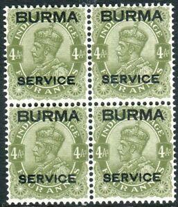 BURMA-1937 4a Sage-Green OFFICIAL.  A mint block of 4 (2 being UMM) Sg O7
