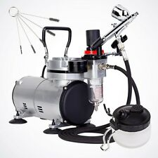 Pro Dual-Action Airbrush Hobby Kit Air Compressor Hose Filter Cleaning Brush Pot