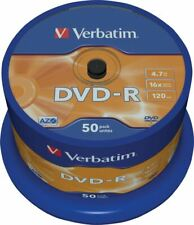 Verbatim 4.7GB DVD-Rs 16x Writing Speed 120 Minutes Playback Time Pack Of 50