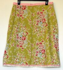 Isaac Hazan Green & Pink Cottage Rose Stretch Cotton A-Line Skirt 12 Made in USA