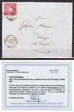 Altdeutschland AD Württemberg 1861 Mi.19ya 9 Kr. Brief Befund Irtenkauf BPP