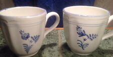 Crate & Barrel White Coffee Mug Made in Italy Blue Floral Pattern