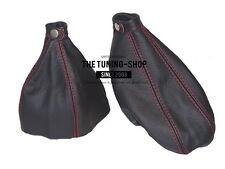 Per Alfa Romeo 166 98-03 Cuffia Leva Cambio E Freno Pelle Nero Cuciture Rosso