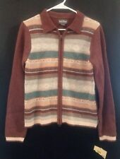 WOOLRICH Nordic Cardigan Sweater M Zip Front Burgundy Blue Tan New with Tag