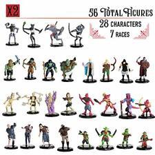 "Painted DnD Miniatures- 56 Mini Figures (28 Unique Characters) - 1"" Hex-sized"