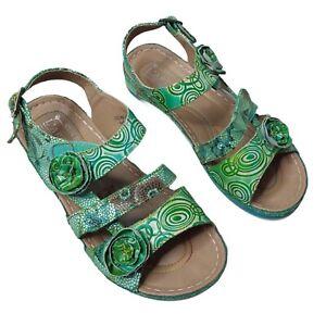 L'Artiste Spring Step Women's Sandals Joelina Green Floral Comfort Shoe 38 (7.5)