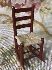 Dollhouse Miniature Furniture Artisan Signed Rocking Chair Rush Seat 375
