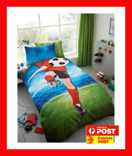 FOOTBALL SOCCER BALL SELFIE KICK SINGLE bed QUILT DOONA DUVET COVER SET footy