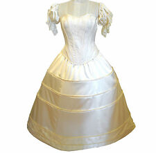 Corset-style ball gown with full skirt, satin & lace sleeve poufs
