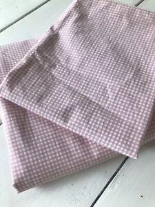 RALPH LAUREN Gingham Check Sheet Set 2pc TWIN Pink/White Flat Sheet & Pillowcase