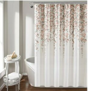 """Lush Decor Weeping Flower Shower Curtain, Fabric Cascading floral Blush/Gray 72"""""""