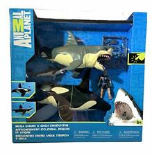 Kids Realistic Great White Shark & Killer Orca Whale Playset w/ Movable Jaw