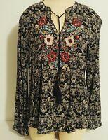 Women's Peasant Top M Blouse Navy Floral Boho Long Sleeve Vintage American Blues