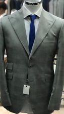 Grey shark skin/slight windowpane super 150 Cerruti wool suit/wide peak lapel