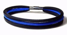 Thin Blue Line Three Strand Paracord  Bracelet Stainless Clasp Hand Made USA