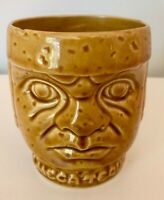 "Olmeca Tequila Ceramic Shot Glass Two Face Mexico Tiki 4"" Tall"