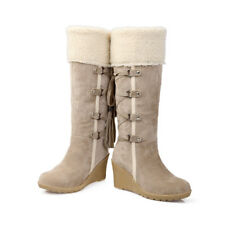 Winter Warm Women Lady High Wedge Heel Lace Up Fur Linen Knee High Snow Boots US