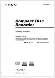 Sony RCD-W3 Compact Disc CD Player Recorder Operating Instruction - USER MANUAL