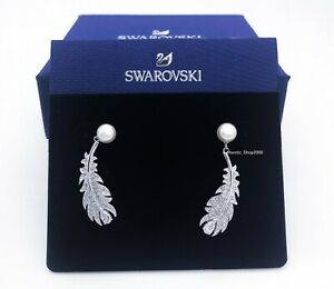Authentic SWAROVSKI Rhodium White Crystal Pearl Feather Nice Earrings 5496052
