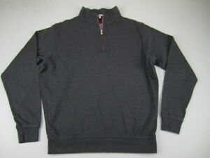 Mens Small Peter Millar gray pink crown logo golf pullover sweater