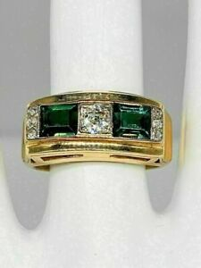 Statement Engagement & Wedding Men's Ring 14K Yellow Gold Plated 2.5 Ct Emerald
