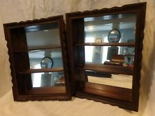 Set of 2 Vintage 3 Shelf Real Wood Shelves Mirrored Medicine or Spice shadow box