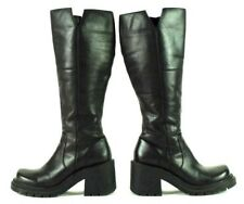 b47b043d9314 Mia Hobbie Black Leather Knee High Boots Block High Heel Zip Punk Womens 6.5