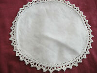 "Vintage 7"" Fabric Center Crochet Edging Round Doily Off White"