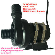 NEW Powerful 12V DC Brushless Water Pump DC60G-12100S 80W 10m 3100LPH Low Noise