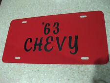 1963 CHEVY CHEVROLET RED ALUMINUM LICENSE PLATE TAG CUSTOM BLACK VINYL LETTERING