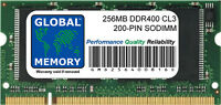 256MB DDR 400MHz PC3200 200-PIN SODIMM MEMORY RAM FOR LAPTOPS/NOTEBOOKS