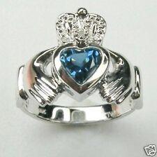 DIAMOND CLADDAGH CR BLUE ZIRCON RING IN 14K WHITE GOLD