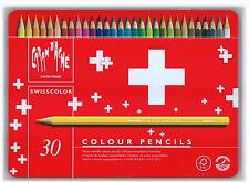 Caran d'Ache 30 Matite Colorate Acquerellabili SWISSCOLOR in Box Metallo *NUOVO*