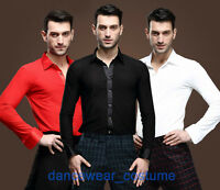 Ballroom Latin Rhythm Salsa Dance Shirt Men Tango Modern Jazz Shirts Top 4Colors