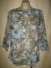 NEW Designer Esterhazy sheer chiffon long sleeve floral KAFTAN shirt TOP size M