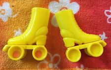 Vintage Barbie Doll Shoes Yellow Roller Skates 1980s Sports Fun Accessory