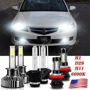 For Acura TSX 2004 2005 2006 2007 2008 LED / HID Headlights Hi/Lo +Fog Light Kit