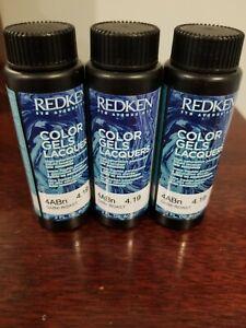 Redken Color Gels Lacquers Permanent Hair Color 2oz .3 bottles 4ABN