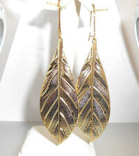 "New  V Large light weight textured FEATHER Gold-tone Dangle Earrings 3-5/8"" long"