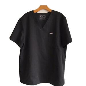 FIGS Mens Scrub Top Size XL Black Chest Pocket Side Pocket V Neck Short Sleeve