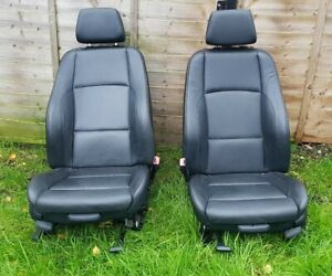 Pair of BMW M Sport Black Leather Front Seats. Coupe. Convertible. E81 E82 E88