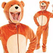 Adult Big Head Teddy Bear Fancy Dress Mascot Costume Grizzly Animal Unisex