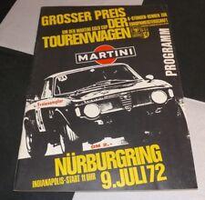 ORIGINAL 1972 NURBURGRING 6 HOURS RENNEN PROGRAMME BMW 2800 FITZPATRICK CAPRI RS