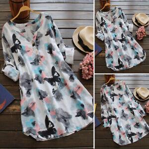 ZANZEA 8-24 Women Long Sleeve Tunic Top Blouse Tee Shirt Print Boho Floral Dress