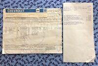 1978 CORVETTE INDY PACE CAR ORIGINAL BUILD SHEET FACTORY GM COLLECTIBLE C3 RARE